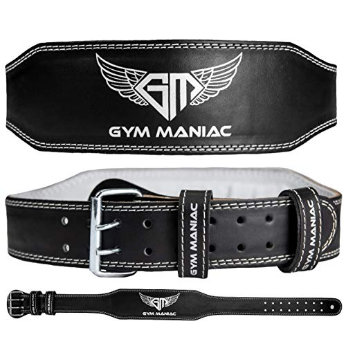 Gym Maniac GM Weight Lifting Waist Gym Belt   Adjustable Size, 2 Prong Buckle, Comfy Suede, Reinforced Stitching   Support Your Back & Alleviate Pains (Silver, Medium)