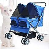 Double Dogs Stroller,Four Wheel Pet Stroller, For Cat, Dog...
