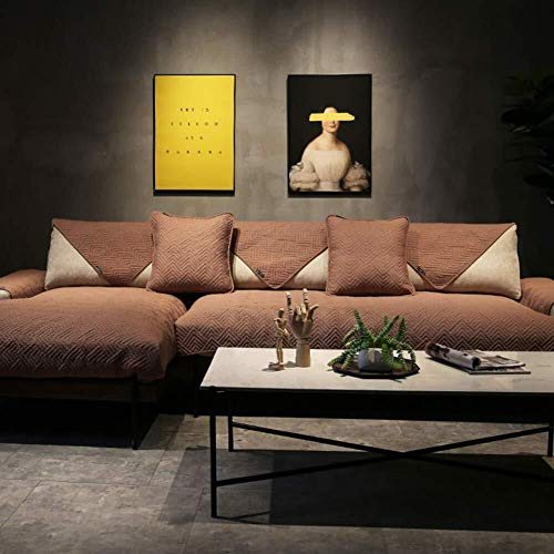 J-Kissen Reversible Sofa Cover, Gesteppte Couch Abdeckung rechteckige Möbel-Schutz-Husse for Haustiere Anti-Rutsch-Sofa Kissenüberzüge (Color : Brown, Size : 110x240cm(43x94inch))