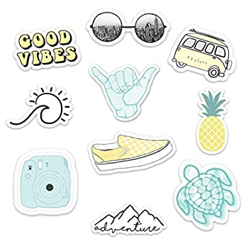 Stickers for Water Bottles– 10 Pack  Cute Waterproof and Perfect for Laptop Hydro Flask Yeti Car Phone-Trendy Decal Water Bottle Stickers-Quality Vinyl VSCO Aesthetic Sticker Pack