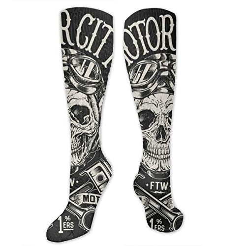 Socks for Women & Men 1 Pairs is Best Graduated Athletic,Running,Flight,Travel,Nurses,Motorcycle Skull With Helmet, Goggles, Pistons And Wings,19.68 inch