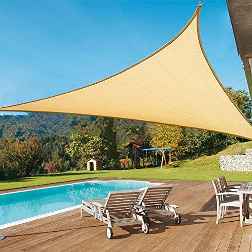 Velas De Sombra para Patio 98% Bloque UV con Kit De Fijación HDPE Transpirable Toldo Vela Triangular para Patio Al Aire Jardín Césped,4 * 4cm