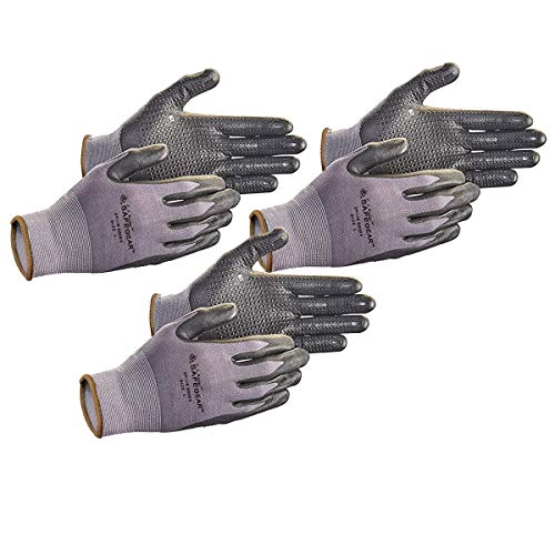 SAFEGEAR Nitrile Gloves, Microdot Palms, 3-Pair, Black Nitrile & Gray Nylon Knit Gloves, Disposable, Latex Free, Ultra-Lightweight, Breathable & Comfortable Safety, Work & Gardening Gloves, Large