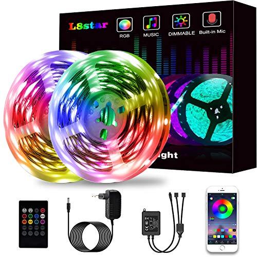 Led Strip, L8star Led Streifen Farbwechsel Led Lichterkette 15M RGB Led Bänder Strips Sync zur Musik, Anwendung für Schlafzimmer (2x7.5m)