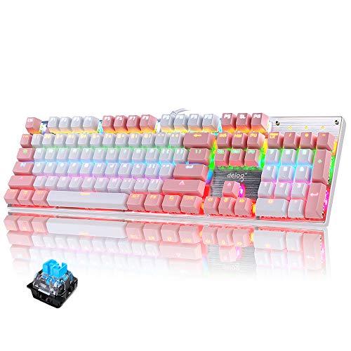 Mechanische Gaming Tastatur LED Beleuchtete Gaming Tastatur mit QWERTY US Layout 104-Tasten Blaue Switch Metall Platte - Rosa