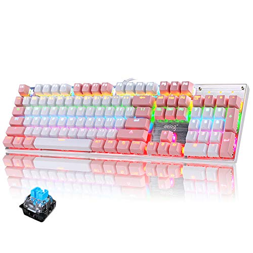 Teclado mecánico Gaming RGB Switch Blue 104 Teclas Disposición Ergonómica 9 Modos de iluminación RGB para PC/Mac con Windows - Rosa