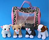 Plush Kitty Cat Carrier with 4 Meowing Kittens | Plush Animal Toy Baby Gift | Toddler Gift (Cat Carrier)