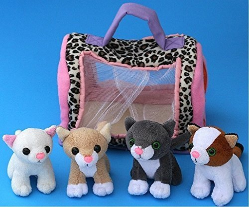 Plush Kitty Cat Carrier with 4 Meowing Kittens   Plush Animal Toy Baby Gift   Toddler Gift (Cat Carrier)