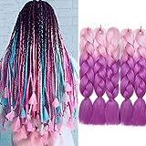 5pcs 60cm Extensión de Cabello Trenzado Sintético Ombre Jumbo Trenzas de Caja Africana Sintética Crochet Twist Braiding Hair Extensions Rosa claro a lila