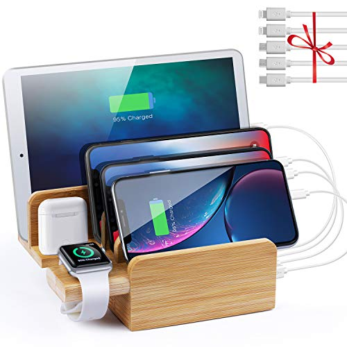 Sendowtek Bamboo USB Charging Station, Apple Watch Stand, 6 Port 40W USB-C for Samsung S10/9/8/7, iPhone Charging Dock for XR/X/XS/8/8+/7/7Plus, Pad, earpods(5 Pack Cables)