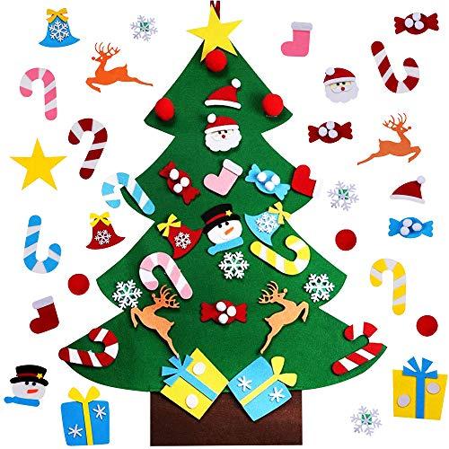 Sporgo Filz Weihnachtsbaum, 26Pcs DIY Filz Weihnachtsbaum Dekoration für Kinder,Weihnachten Dekoration 95cm Home/Tür/Wand Winter,Filz Stoff Hängend Dekor zum DIY Handwerk Weihnachtsspiel