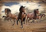 DekoShop Fototapete Vlies Tapete Moderne Wanddeko Wandtapete Pferde im Galopp auf Holzplanken AMD10083VEXXL VEXXL (312cm. x 219cm.) Abstraktion und Kunst