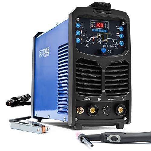IPOTOOLS INV185PACDC WIG - Dispositivo de soldadura (CA y CC, 180 amperios, totalmente digital, incluye encendido HF, función de pulso, soldadura de aluminio, MMA, IGBT, 7 años de garantía)