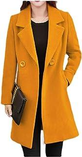 neveraway Women Custom Fit Button Woolen Windbreaker Jacket Plus-Size Parka Coat