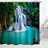 Polyester Shower Curtain Nature, Summer Tropical Jungle Forest Waterfall Lake Landscape Bath Curtain, Outdoor Waterproof Fabric Bathroom Shower Curtain with Hooks,72 x 72 Inch