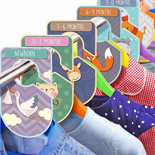 Set da 20 divisori da armadio per bambini a tema animale, organizza l'abbigliamento per tipo di abito o età, cartellini unisex