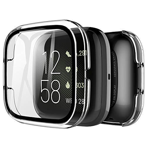 LK Compatible con Fitbit Versa 2 Protector de Pantalla,2 Pack,PC Funda, Cristal Vidrio Templado