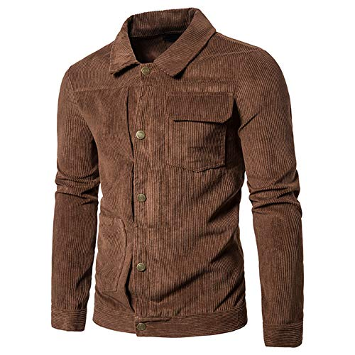 Mr.BaoLong&Miss.GO Autumn and Winter Men Jacket Corduroy Men Casual Jacket Jacket Solid Color Jacket Men European Size Lapel Jacket Jacket Brown
