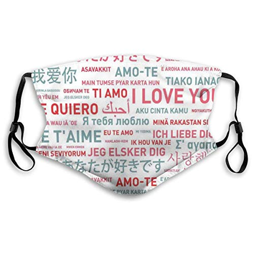 Fashion Comfortable Windproof Cover,Emotional Messages In Various World Languages Valentines Theme Romantic Design,Printed Facial decorations for Unisex M