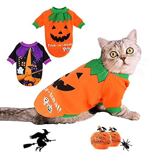 BWOGUE Dog Halloween Shirt Pet Pumpkin Costumes Pet Clothes Funny T-Shirt for Small Dogs and Cats...