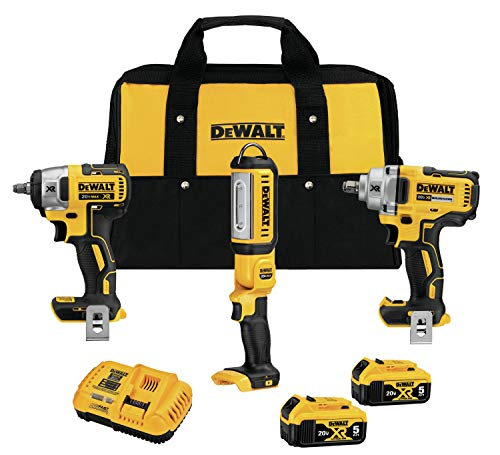 DEWALT 20V MAX XR Impact Wrench Combo Kit, 1/2-Inch & 3/8-Inch with LED Handheld Area Light, 3-Tool...