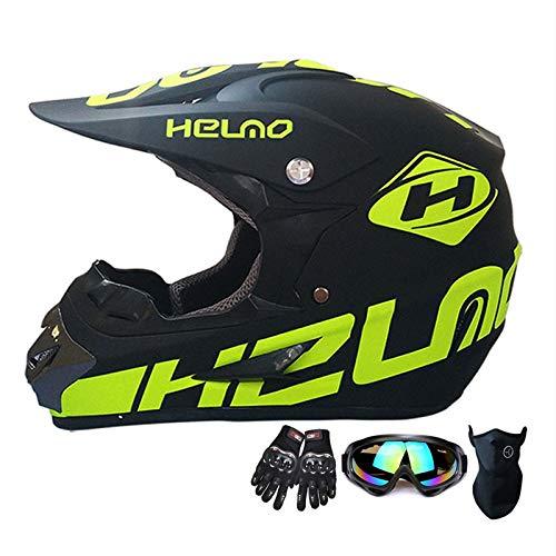 SMILE Casco de Moto ATV Casco de Moto SUV Casco + Gafas + Guantes Motocicleta BMX MX Downhill Cross Country Mountain Bike Casco de Bicicleta de montaña Ropa de Hombre,Brightgreen,XL