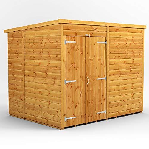 POWER | 8x6 Windowless Pent Double Door Wooden Garden Shed | Size 8 x 6 No Windows | Double Doors | Super Fast Delivery
