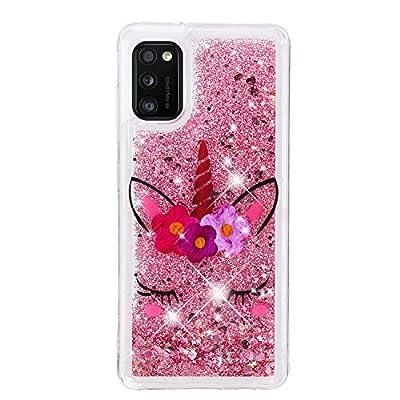 Funda para Samsung Galaxy A71 2020 Fundas Glitter Liquida Silicona Bling Case Brillante Transparente Dibujo Carcasa Antigolpes Caso Cover - Unicornio de pestañas