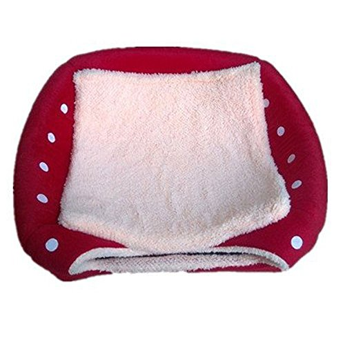 JYSPORT Haustierbett mit Entnehmbarem Katzenbett Hundebett Baumwoll-Bett Weichem Kissen Wasserfeste Unterseite (Erdbeere) - 3