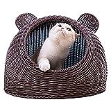 ペットプロ 手編みカラーベッド 猫 ベッド 犬 ベッド クッション ラウンド型 藤編 丸型 ドーナツふわふわ もこもこ ぐっすり眠る 暖かい 滑り止め 夏 通年 洗える キャット 猫用 小型犬用 ペット (カレー色,M)