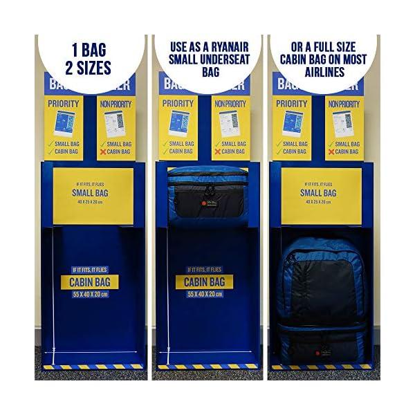Cabin Max Mochila de Cabina Universal Maleta de Cabina de 2 en 1 | Conversión de 55x40x20 a 40x20x25 con Solo 2 Clips y…