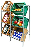 V2Aox Kistenregal Getränkekistenregal Getränkeregal Flaschenkastenregal Kistenständer Grau 3 oder 6 Kisten Kingpower, Ausführung:Groß (116 x 94 x 34 cm)
