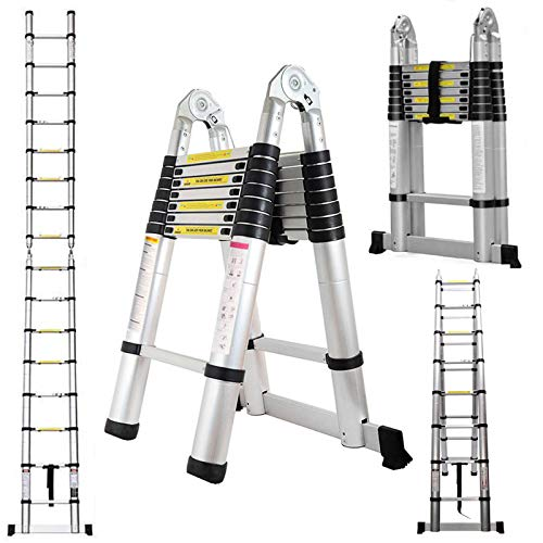 Heavy Duty Telescoping Ladder 16.5 Feet Aluminum A-Frame Folding Steps 330 Pound Load Capacity DIY Building Supplies for Home Outdoor Office