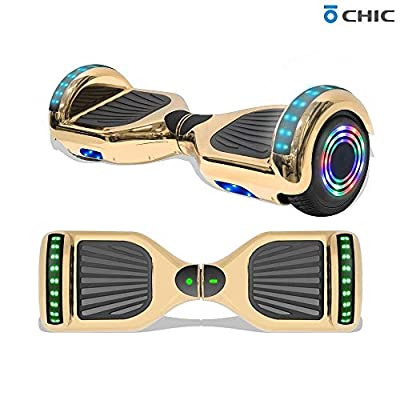 """TPS 6.5"""" Hoverboard Electric Self Balancing Scooter with Wireless Speaker and LED Lights for Kids and Adults - UL2272 Safety Certified (Metallic Gold)"""