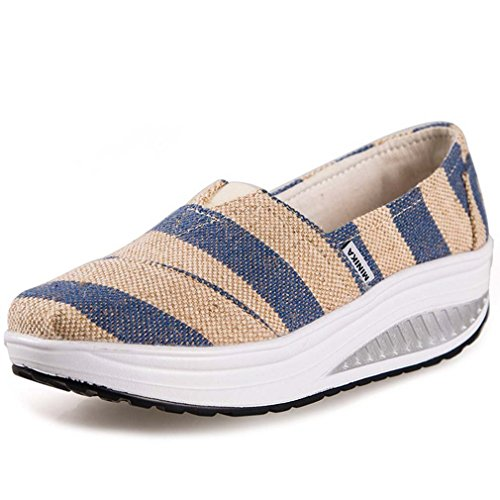 Minika Solshine Damen Keilabsatz Plateau mit Mustern Loafers Sneaker Bequeme Laufschuhe, Mehrfarbig  Blau/Creme, Gr. 39