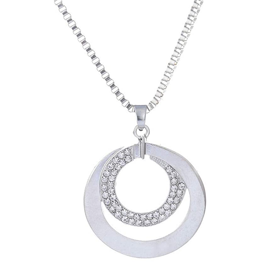 AKOAK Long Sweater Chain Necklace Women Fashion Crystal Rhinestone Chunky Silver Plated Double Circle Pendant Women Necklace