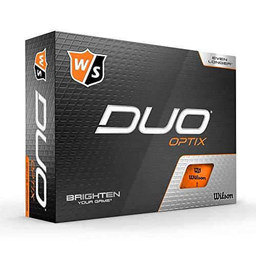 Wilson Staff Balles de Golf, Duo Optix, 12 balles, Orange, Surface Mate, WGWP50300