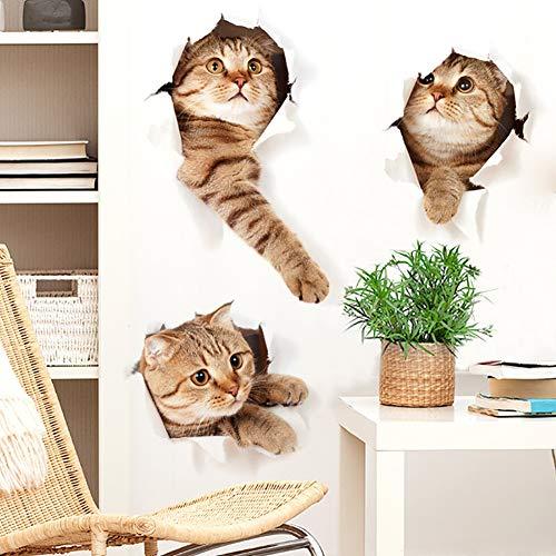 WandSticker4U® - 3 x 3D gato en la pared I murales: 73 x 40 cm I Pegatinas de pared impermeables para cocina, baño, azulejos, puerta, inodoro, muebles, frigorífico, adhesivo de animales, autoadhesivo.