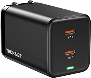 USB C Charger TECKNET PD 45W GaN Tech Type C Wall Charger Fast Charging with Dual Ports, Foldable Power Adapter Compatible for iPhone 12 Pro Max/12 Pro/12/12 Mini, iPad Pro, Switch, Galaxy S21/S20