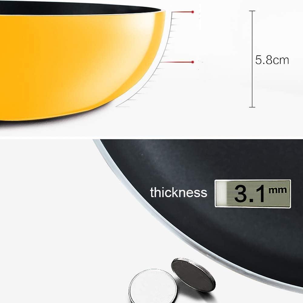 HZY Marmite Antiadhésive avec Couvercle Batterie De Cuisine Wok 32cm - Fer Forgé Dessous en Composite Multicouche Valve à Air Poignée Anti-brûlante,Black Gold