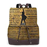 Ha-mi-ltoN Musical Quates Pu Leather Laptop Backpack Purse Casual College Casual Bags Daypack For Women Men