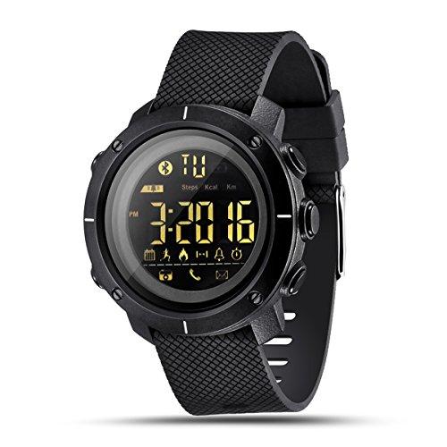 NICERIO Bluetooth Smartwatch LF19 orologio da nuoto con retroilluminazione a LED per uomo donna da polso indossabile Sport Runnding pedometro allarme promemoria SMS - nero