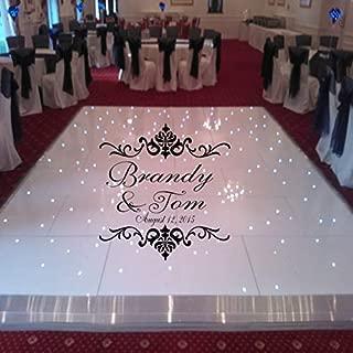 Damask Theme Dance Floor Decal - Wedding Day - Fancy Calligraphy Font Dance Floor Personalized Names Vinyl Lettering Huge J920