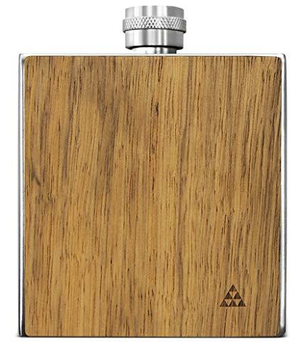 SmartWoods Flachmann Taschenflasche aus Edelstahl mit Ummantelung aus Naturholz, Sichtbeton oder Stein 177 ml hochwertige Trinkflasche Schnapsflasche Geschenkidee (Frake)