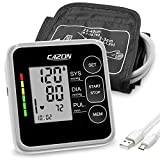 CAZON Blood Pressure Monitor Cuff Upper Arm Blood Pressure Machine Home Use BP Device Automatic Heart Pulse Rate Monitoring Meter with Cuff 22-40cm, 2×120 Sets Memory