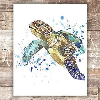 Sea Turtle Wall Art Print - Unframed - 8x10   Beach Wall Decor