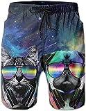 tyui7 Herren Galaxy Space Dj Katze mit Kopfhörer Haustier Tier Mops Hund Badehose Beach Board Shorts