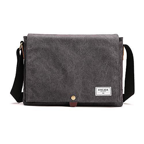 XINCADA Canvas Messenger Bag Satchel Shoulder Bags Vintage 14 Inch Laptop Bag Crossbody Casual Bookbag for men
