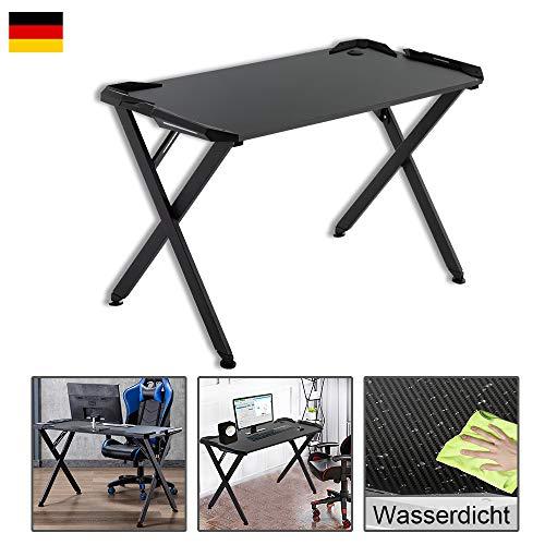 wolketon Gaming Tisch Ergonomischer Gaming Schreibtisch Gaming Computertisch PC Schreibtisch X-Form schwarz, mit Kabelmanagementsystem