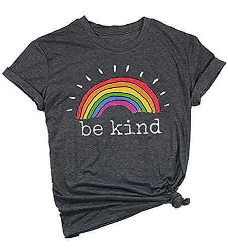 Mahrokh Be Kind Tshirts Women Rainbow Graphic Tees Inspirational T Shirts Casual Short Sleeve Tops